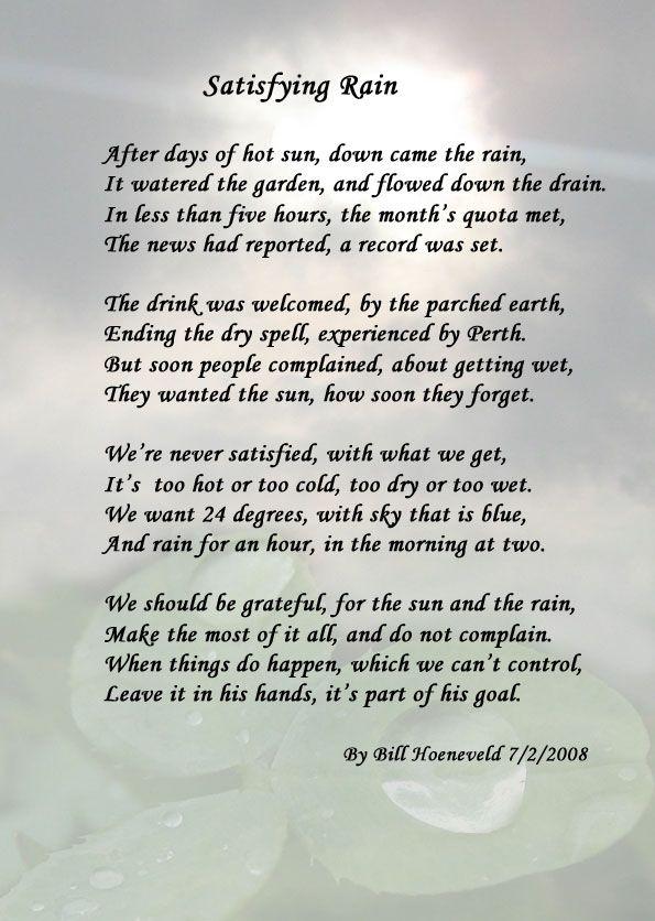 Satisfying Rain Nature Poems Nature Poem Rain Poems