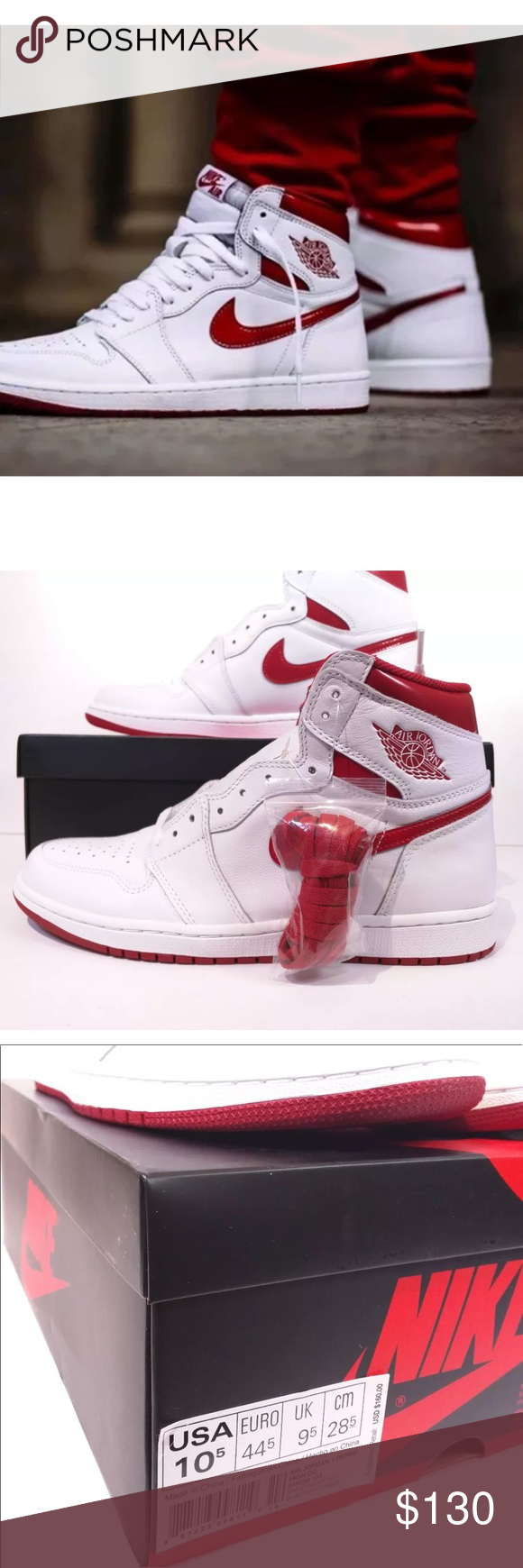 check out 30d0b cf1e5 Nike Air Jordan 1 Retro HighOG Metallic Red White Nike Air Jordan 1 Retro  High OG