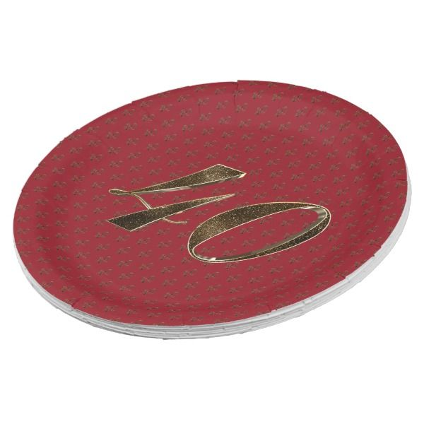 sc 1 st  Pinterest & Number 40 40th Anniversary Ruby Gold Typography Paper Plate