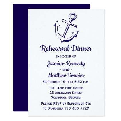 Nautical navy blue rehearsal dinner ship anchor card wedding nautical navy blue rehearsal dinner ship anchor card wedding invitations cards custom invitation card design stopboris Image collections
