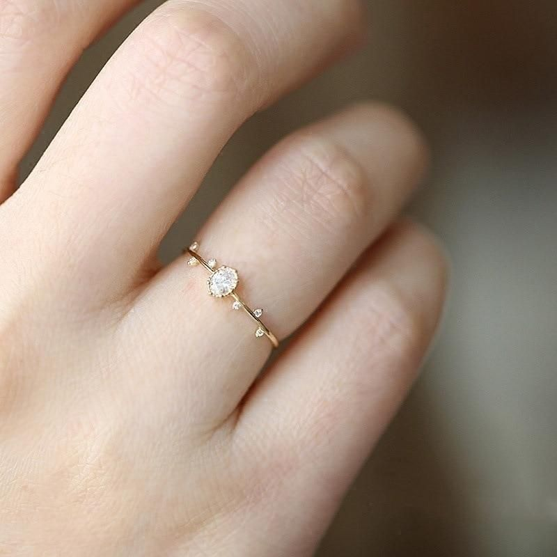 Fashion Simple Lovely Jewelry White Topaz 14K Rose Gold White Gold Filled Ring