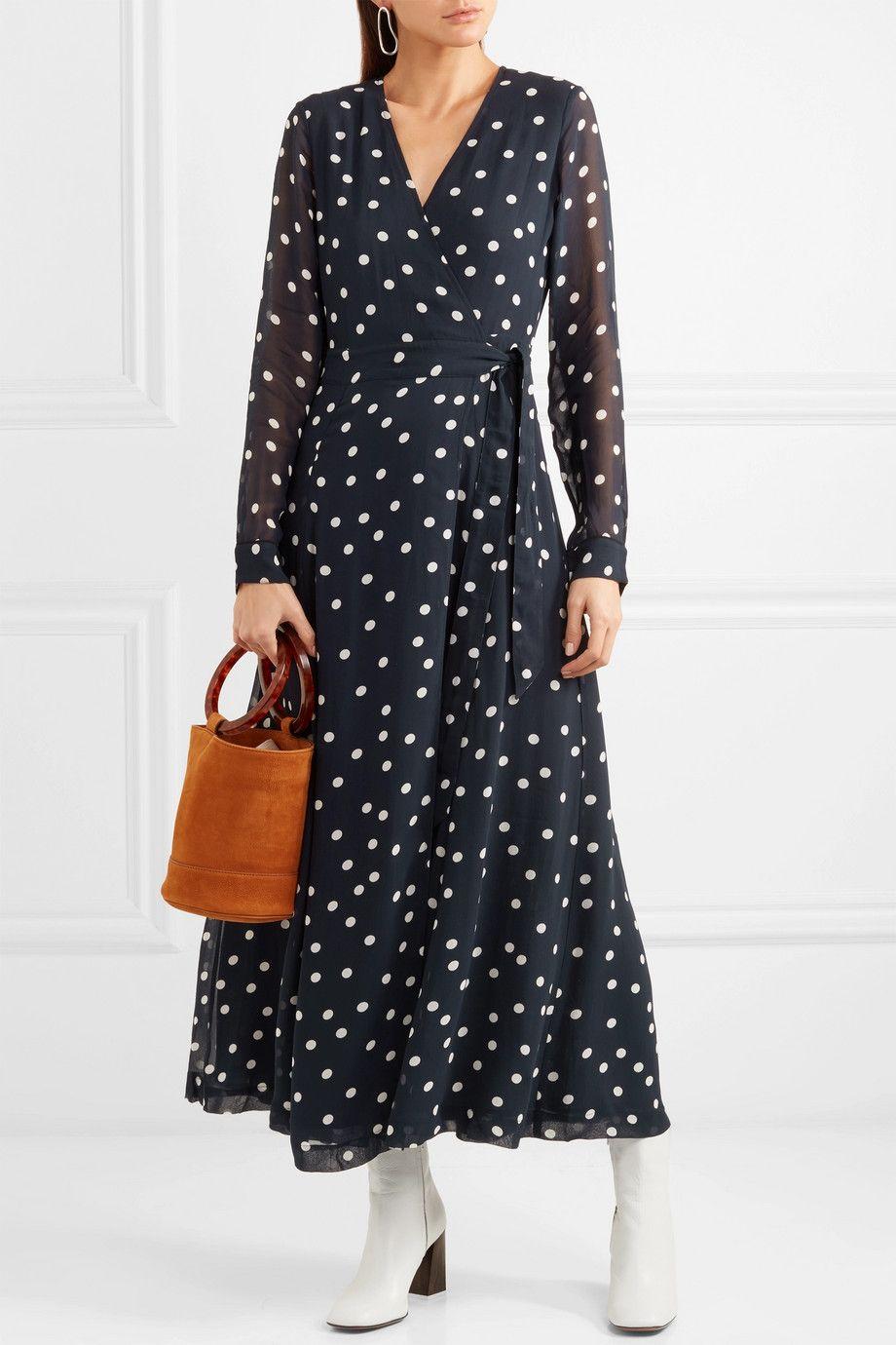 Ganni polka dot ruffled wrap dress Low Shipping Online Buy Cheap Websites Cheap Sale Online e8Ca36D8