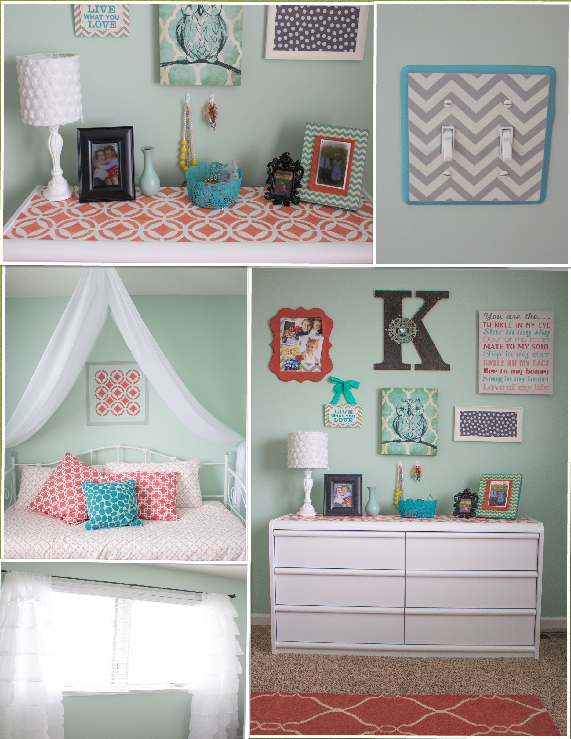 My new favorite room in the house love my mint and coral - Grey and turquoise bedroom ideas ...