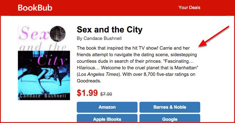 Writing a book description? See BookBub's process for writing blurbs and their A/B test results — and the resulting book description best practices.