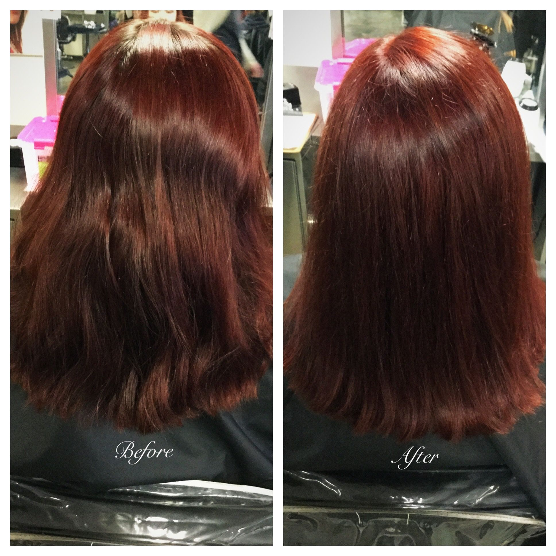 Retouch With Soap Cap At The Shampoo Bowl Using Wella Koleston Perfect 5 75 5 0 And 6 Ribbons Of Wella Special Mix 0 75