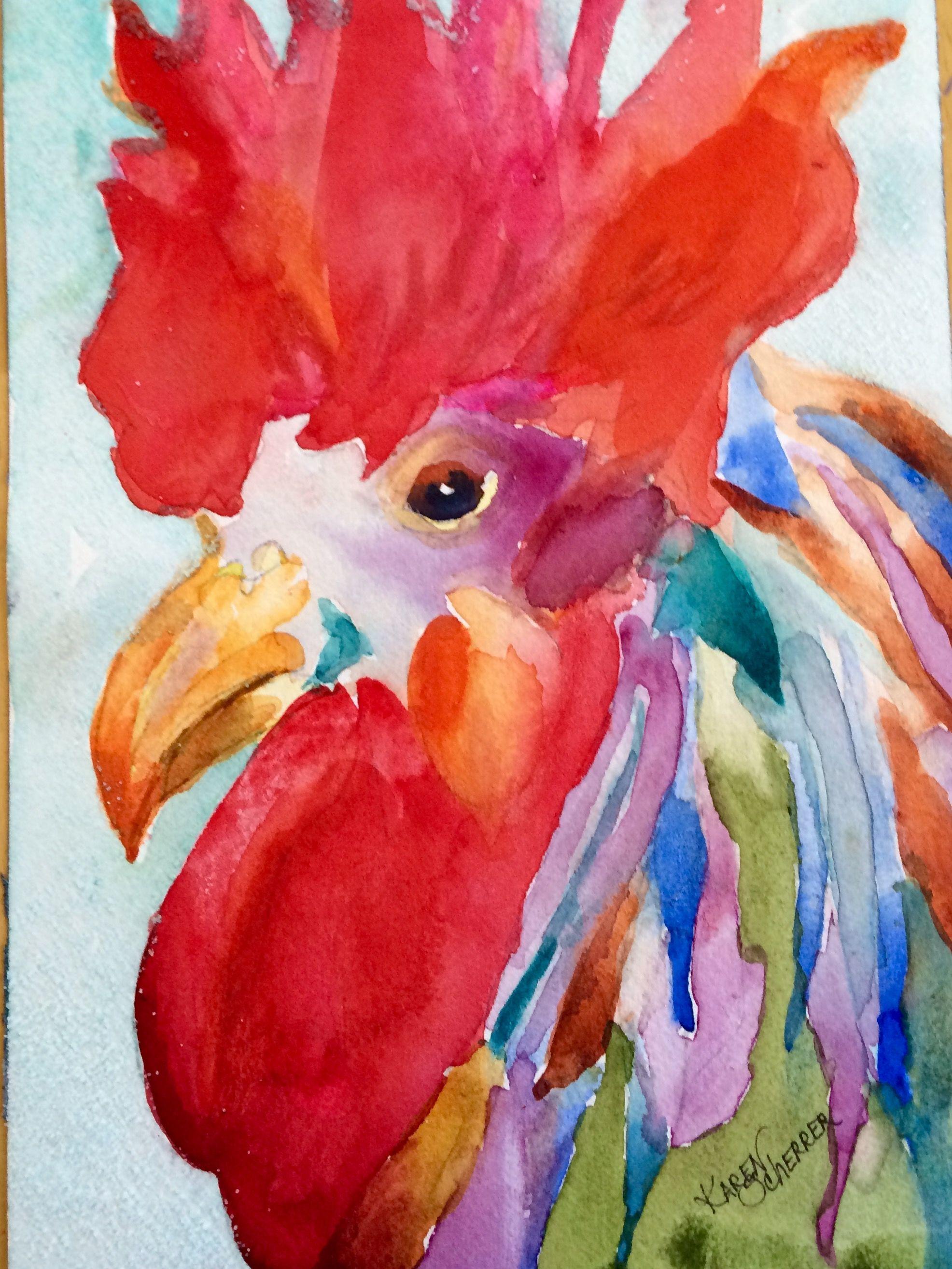 Watercolor artists in texas -  Something To Crow About By Texas Watercolor Artist Karen Scherrer