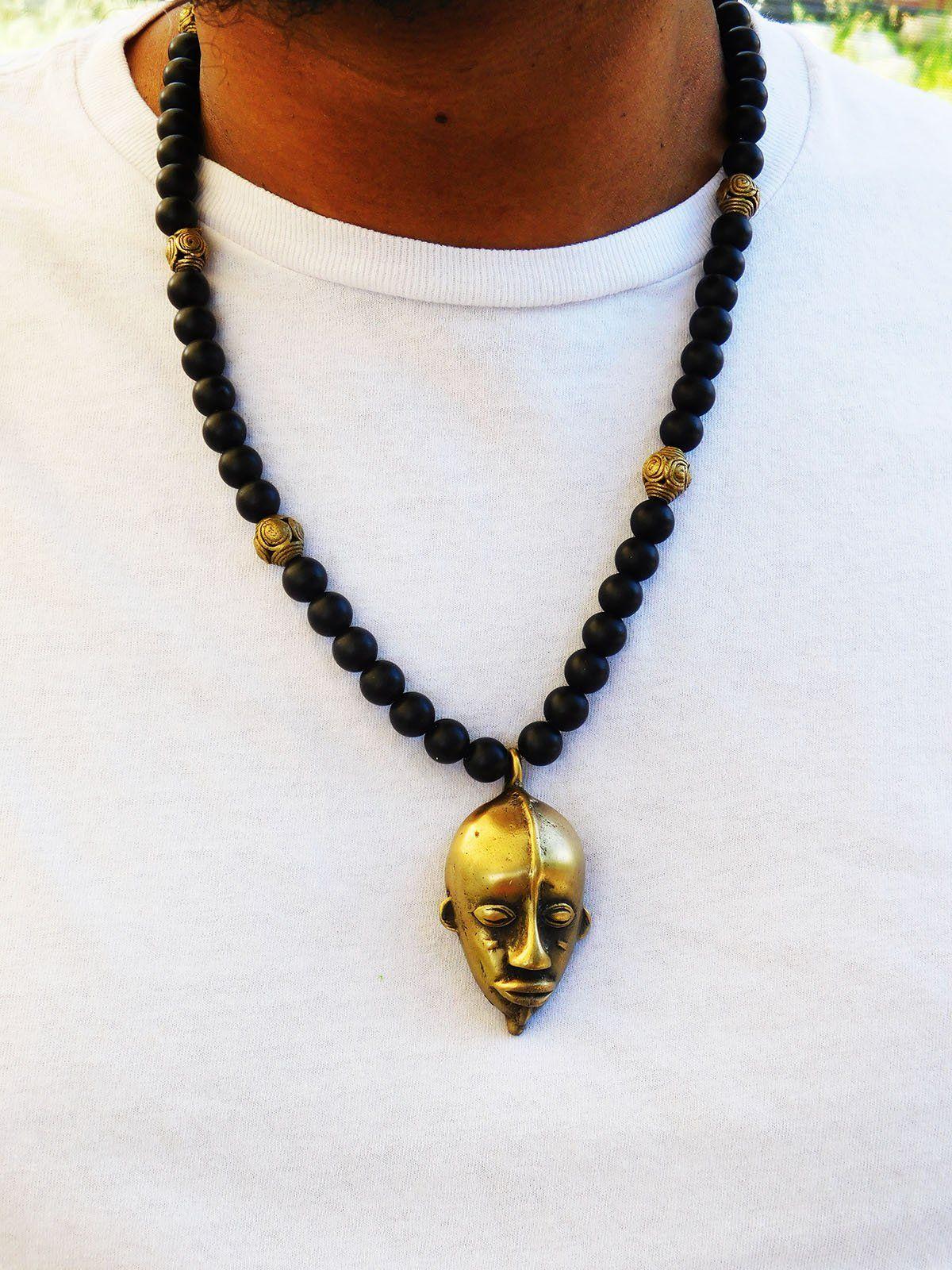 Handmade Bronze Pendant For Men Tribal Necklace