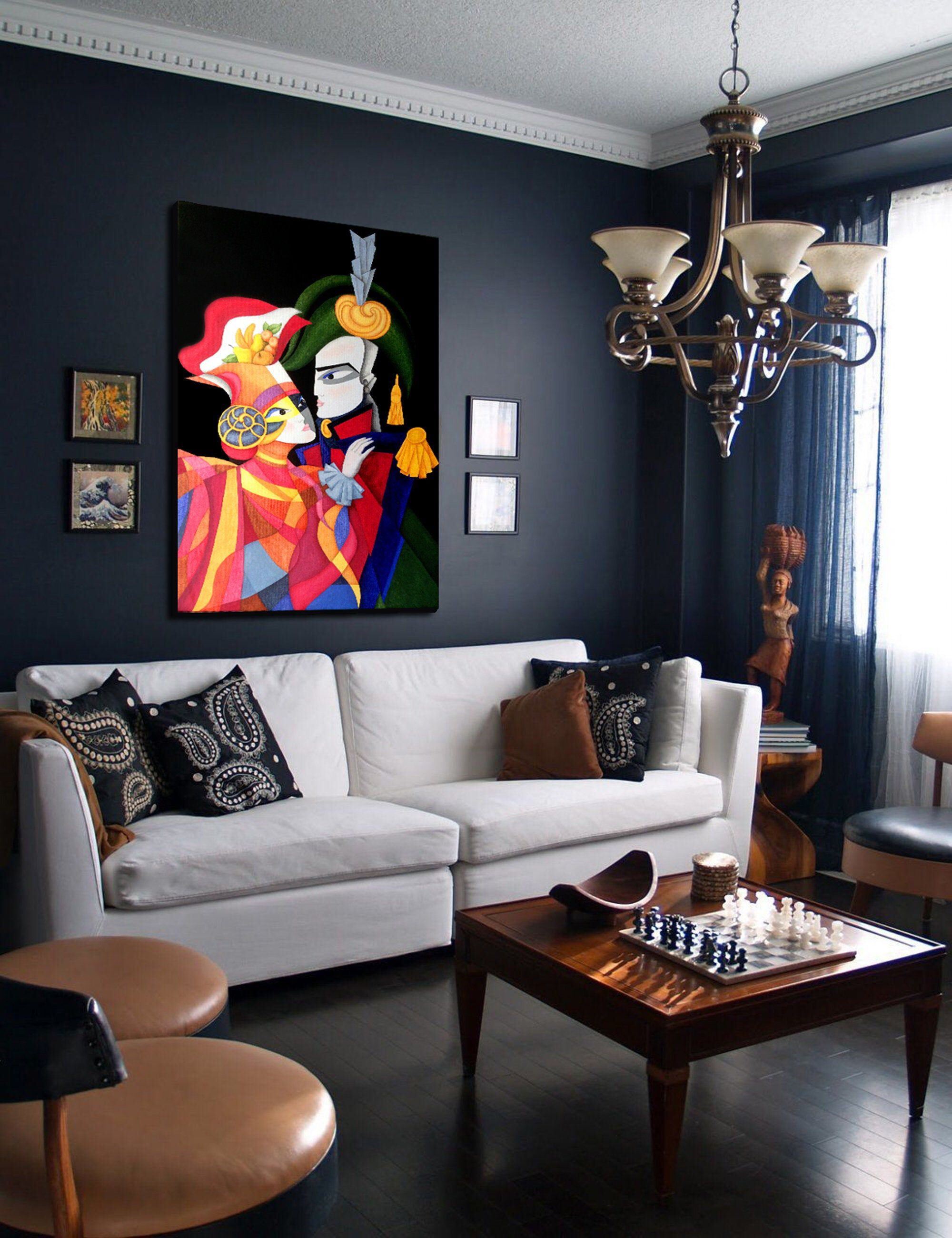 hussar and colombine portrait painting on canvas on modern acrylic paintings for living room id=34035