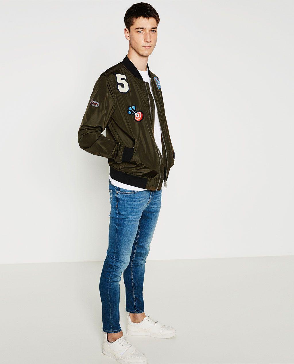 Zara Man Patch Bomber Jacket Style Fashion Hombres Pinterest