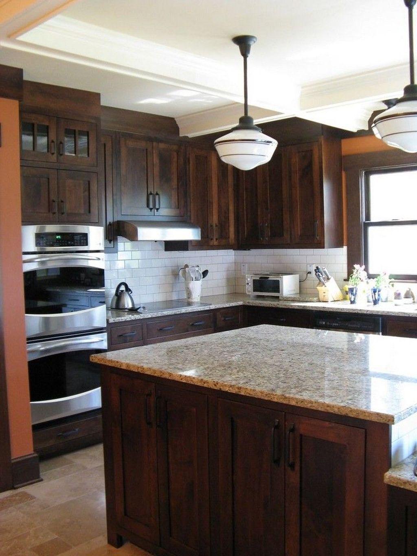 Elegant Kitchen Backsplash Decor Ideas With Dark Cabinets ...