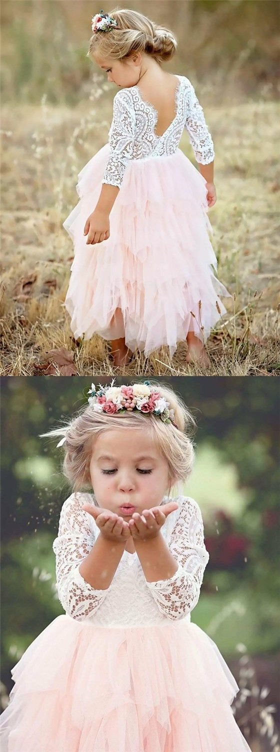 A-Line Scoop Tea-Length 3/4 Sleeves Pink Flower Girl Dresses with Lace Ruffles, TYP1027 – Wedding