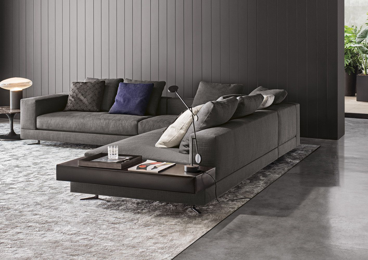 Delightful Minotti White Sectional With Attached Leather Table : Fabric : 06 Elephant  Color: Pitti ; Leather Table Name: Pelle Extra Color 949 Visone