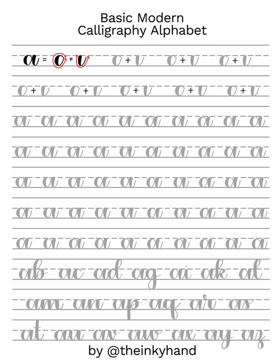 Worksheets Calligraphy Practice Worksheets 10 free hand lettering practice worksheets hands calligraphy basic modern sheets by theinkyhand lowercase alphabet digital download