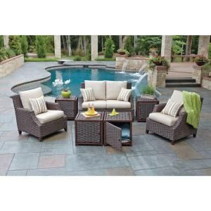 Woodard Santa Monica 7 Piece Patio Seating Set With Beige Cushions Rxaw 407 The Home Depot