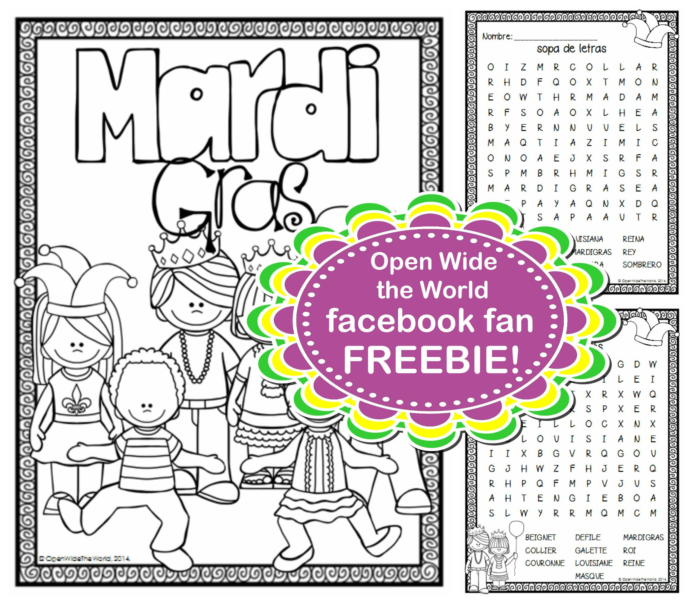 Mardi Gras Freebie For Fb Fans Of Open Wide The World A