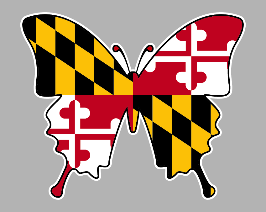 Maryland Flag Butterfly Sticker Maryland Flag Stickers Butterfly