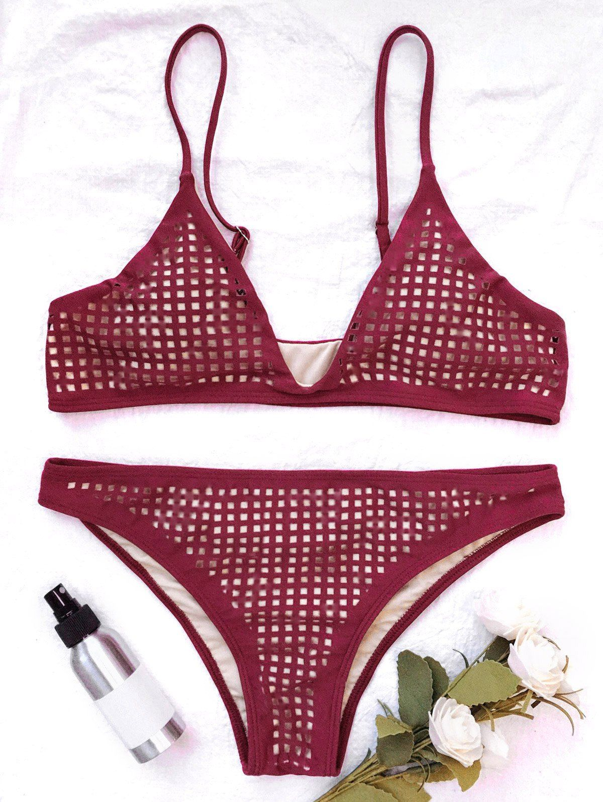 07acad2567 Square Laser Cut Bikini Top and Bottoms - BURGUNDY M
