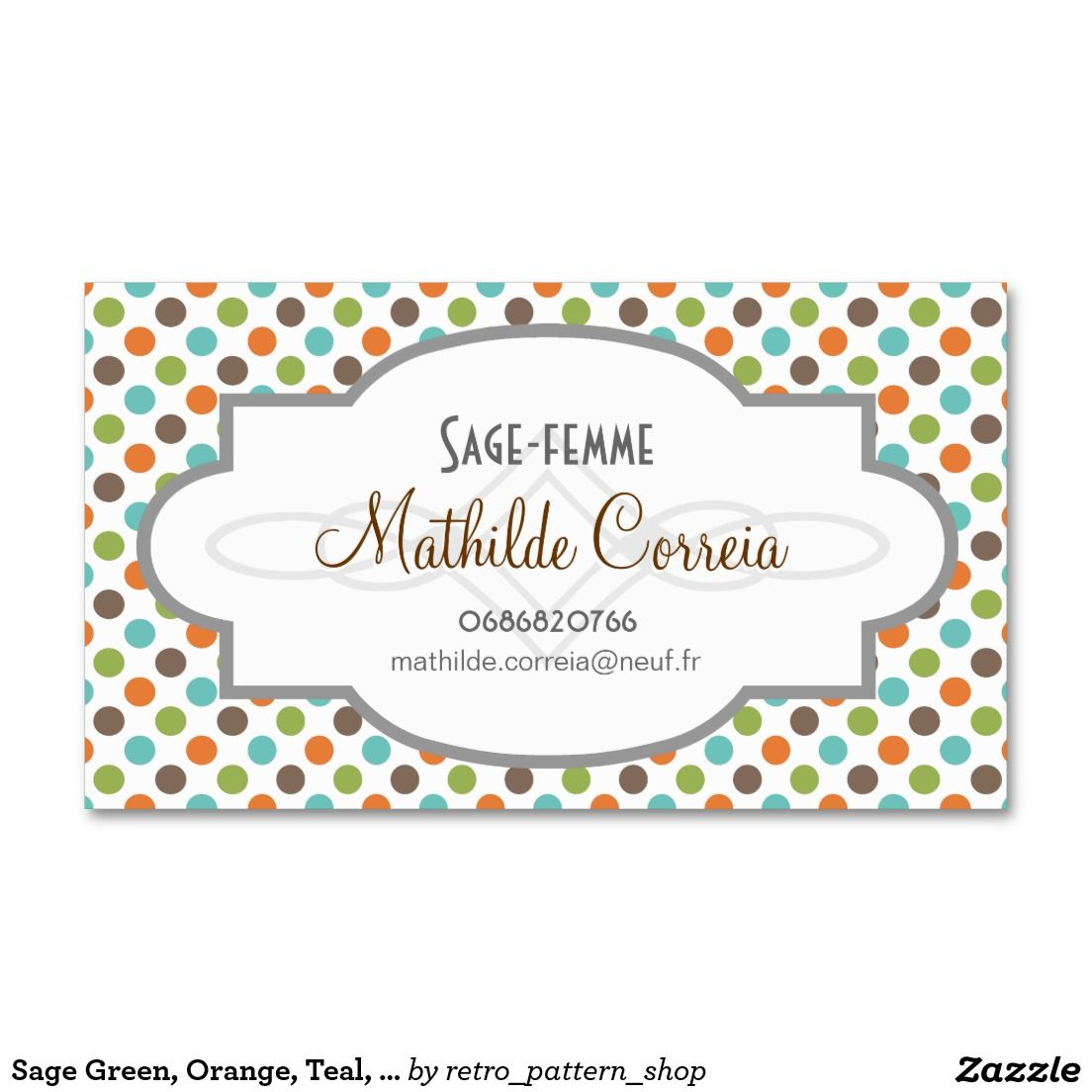 Vert Sauge Orange Teal Et Pois De Brown Carte Visite Standard