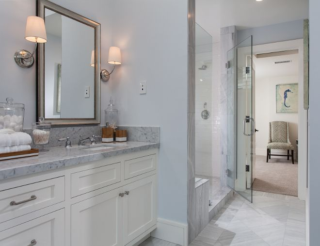 Restoration Hardware Atmosphere Blue Paint Color Shaker Cabinets Are Rh Right White Floor Tile Is Solto Marble Undulated Whi