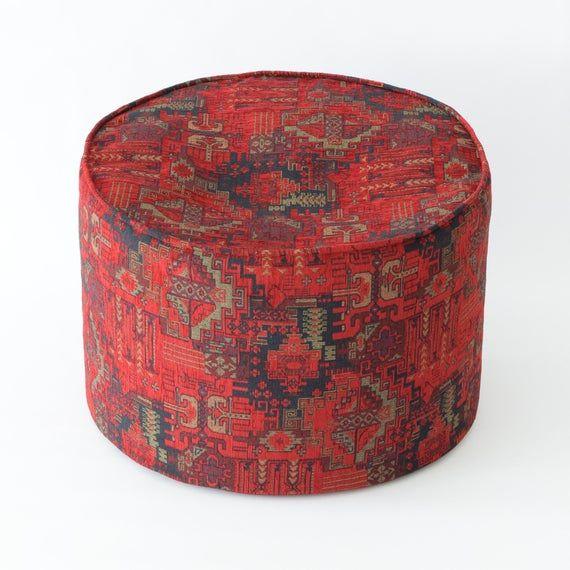 Round Kilim Pattern Fabric Pouf F02 Turkish Moroccan Persian