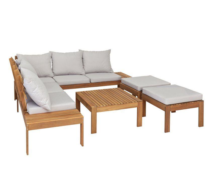 Buy Argos Home 6 Seater Wooden Corner Sofa Set Patio Sets Argos Corner Sofa Set Sofa Set Corner Sofa