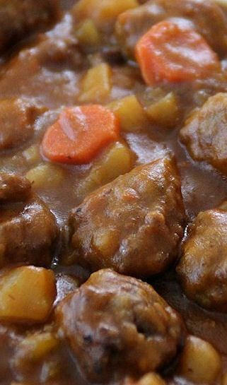 Hearty Meatball Stew - a great economical weeknight dinner! I would use sweet potatoes instead