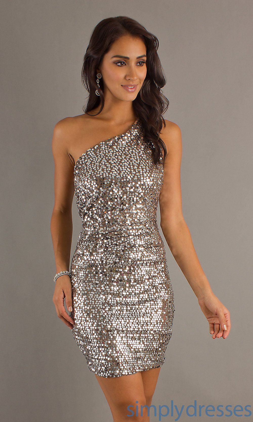 Short One Shoulder Dress, Sequin Cocktail Dress - Simply Dresses ...