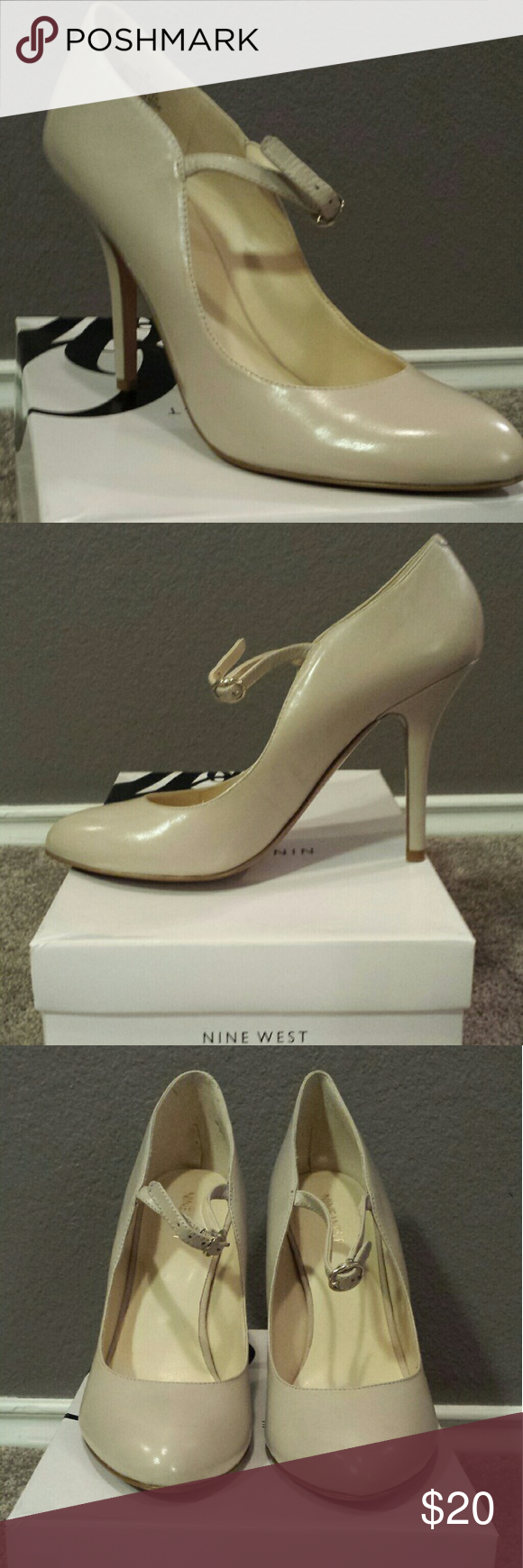 Mary Jane Ankle Strap Pumps - Lt. Grey/Taupe Nine West 'Inner Diva' Nine West Shoes Heels