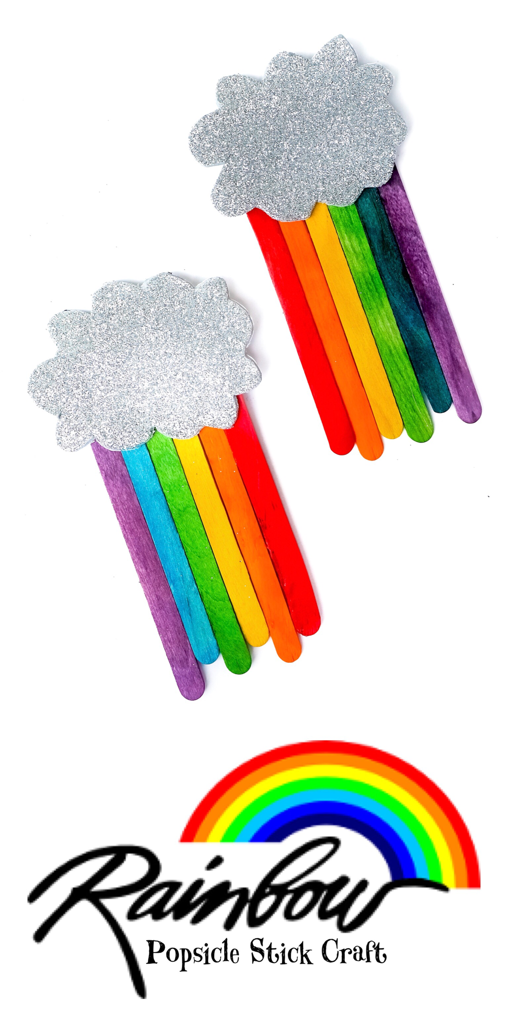 Rainbow Popsicle Stick Craft #popciclesticks