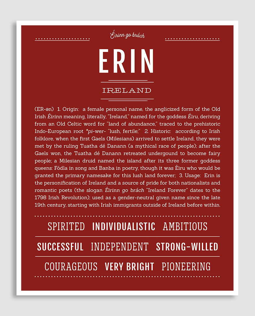 Erin | Classic Name Print | Classic names, Personalized ...