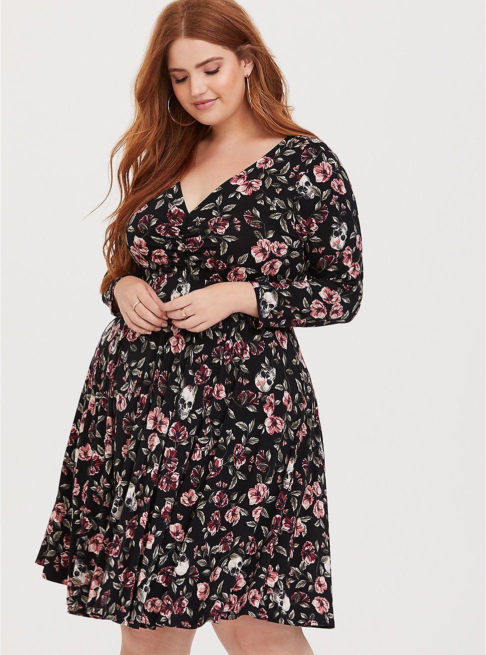 4705e222a6e Plus Size Black Floral Skull Studio Knit Skater Dress