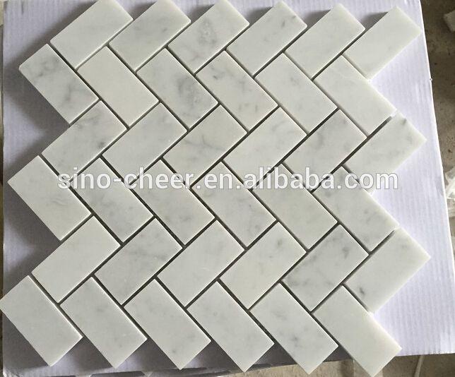 Size 1 X 2 Inch Pieces Mounted On 12 X 12 1 Sq Ft Sturdy Mesh Tile Sheet Premium Grade 1x2 Herringbone White Carrar White Mosaic Tiles Marble Mosaic Mosaic Tiles