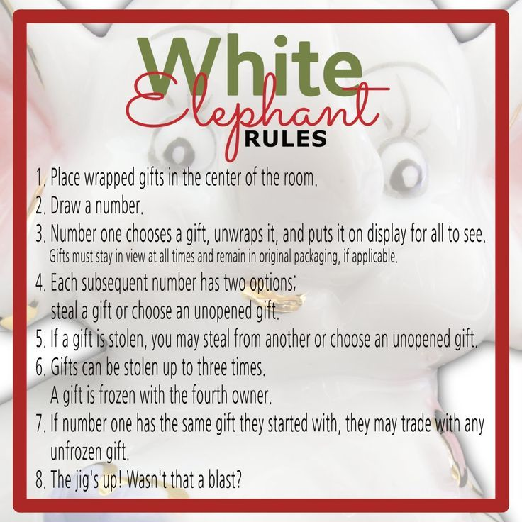 White elephant gift exchange rules and printables white elephant white elephant gift exchange rules and printables white elephant rules gift exchange games and white elephant gift negle Gallery