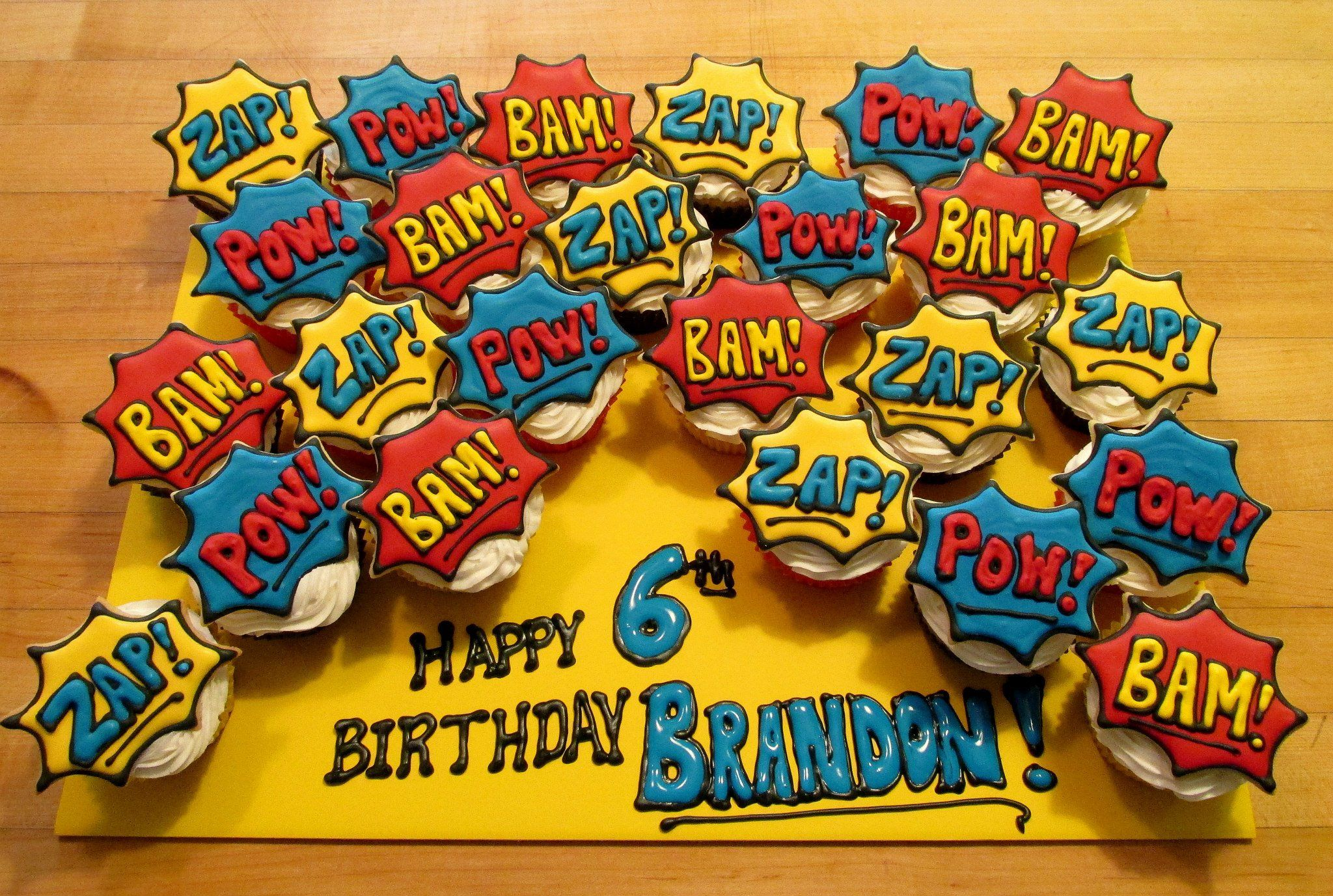 Little Boy Birthday Cupcake Comic Book Theme Original Credit I