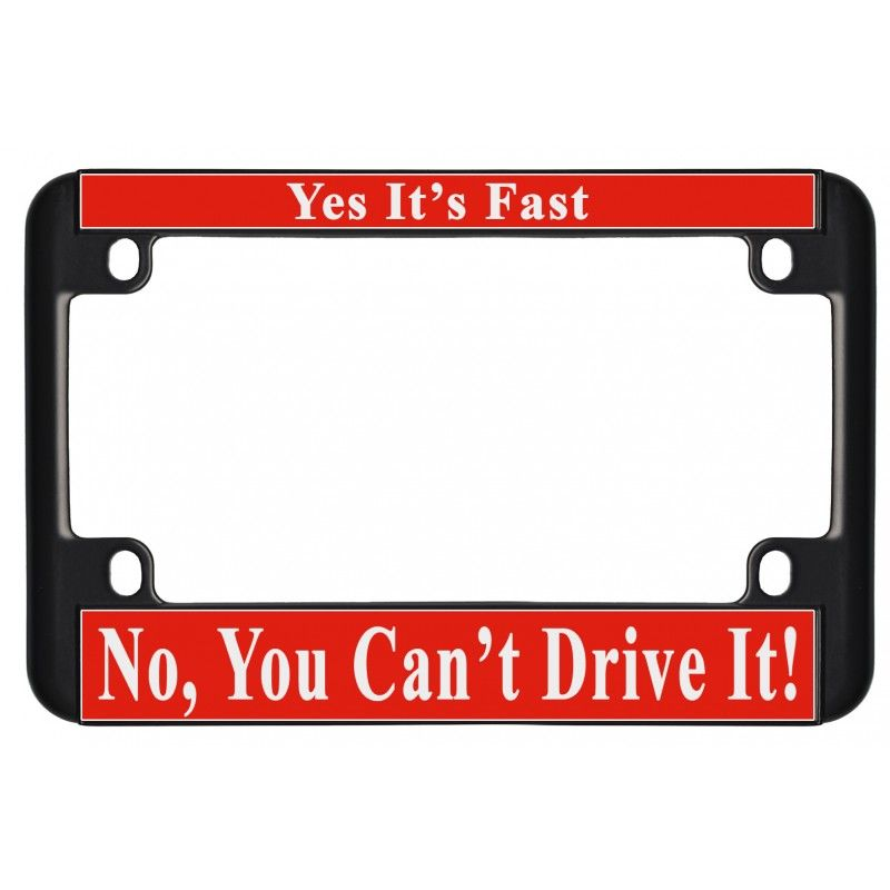 black aluminum motorcycle license plate frame with red plastic ...