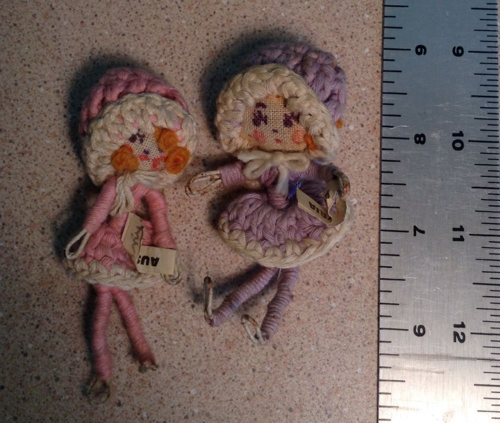 2 Vintage Miniature Cloth Dolls Made In Austria