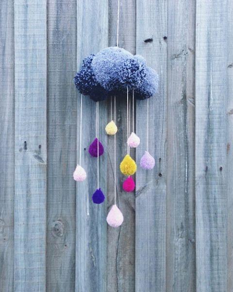 pom pom rain cloud decoration  Visit Centophobe.com for more decrating ideas...