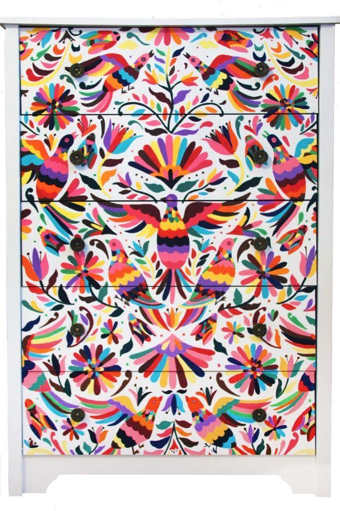 Hand painted otom mexican style dresser muebles for Muebles estilo mexicano contemporaneo