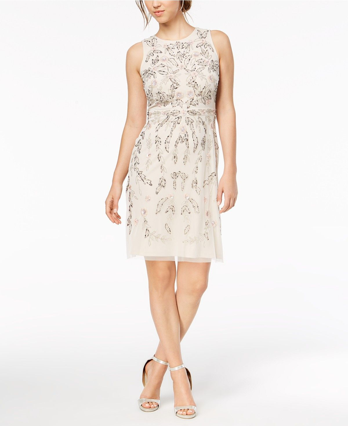 3a0b06a6c5 Adrianna Papell Flower-Beaded A-Line Dress - Dresses - Women - Macy's Tea