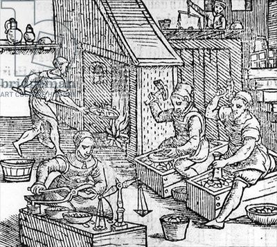 Women Blacksmiths (woodcut) (b/w photo), 16th century