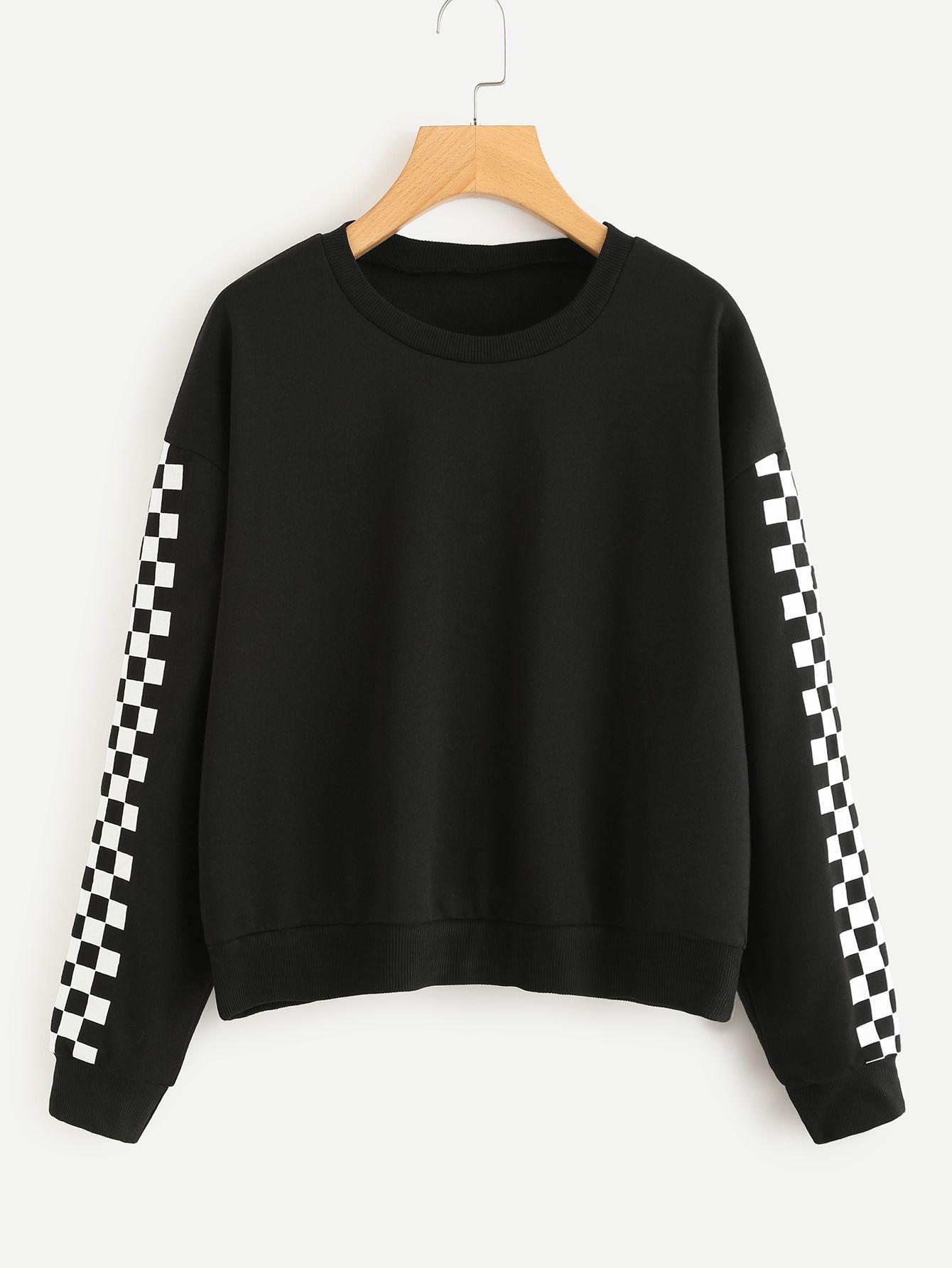 fd9b4b5dbb965 Contrast Checked Sleeve SweatshirtFor Women-romwe