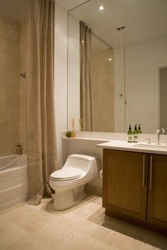 Extended Countertop Over Toilet And Full Wall Mirror Forma