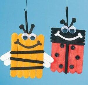 Insectos Con Palos De Helado Ideas Para Peques Met Afbeeldingen Knutselen Met Ijsstokjes Lieveheersbeestje Knutselen Dieren Knutselen