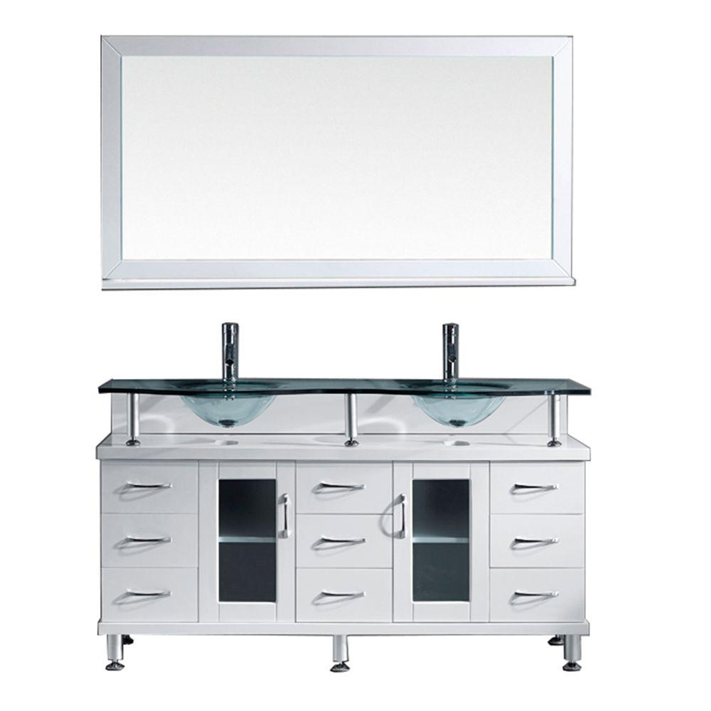 Virtu Usa Vincente Rocco 60 In W Bath Vanity In White With Glass Vanity Top In Aqua With Round Basin And Mirror And Faucet Md 61 G Whthd The Home Depot Double Vanity Bathroom
