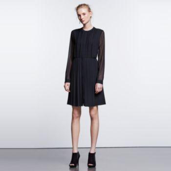 97383ee39c5 Women s Simply Vera Vera Wang Simply Noir Pleated Shirtdress