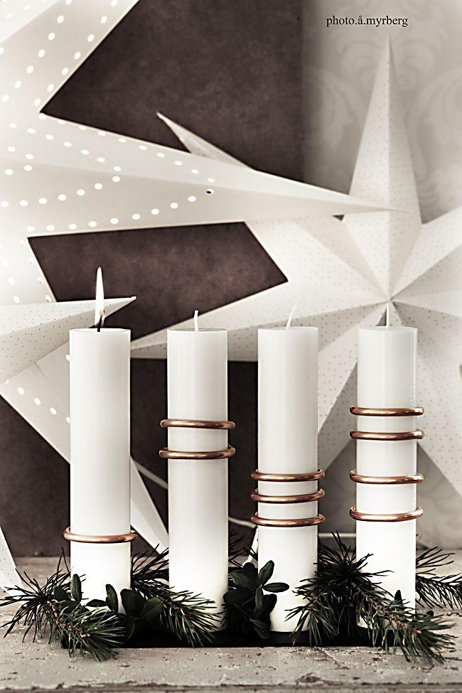 Lätt DIY – adventsljusstake med kopparringar | @my casa
