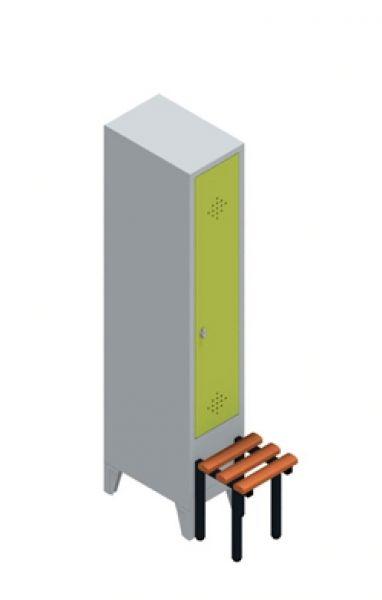 Garderobenschrank mit einem Abteil. Ausführung: Einsteckbarer Hutboden mit Garderobenstange und drei Schiebehaken.  Maße: 1850mm hoch, 320mm breit, 500/815 (inkl. Sitzbank) mm tief
