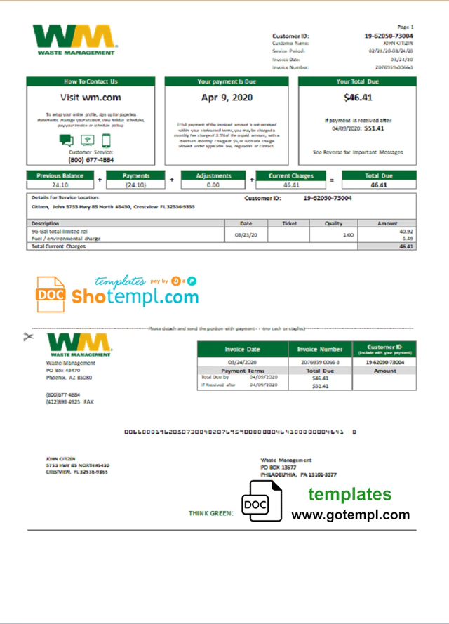 Usa Waste Management Bank Statement Template In Word And Pdf Format Good For Address Prove Bank Statement Statement Template Management