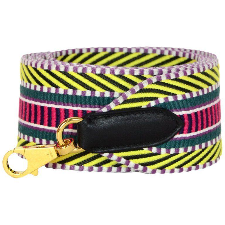 Photo of Hermes '18 Multicolor Canvas Black Canvas Leather Strap Cavale 50mm Bag Strap