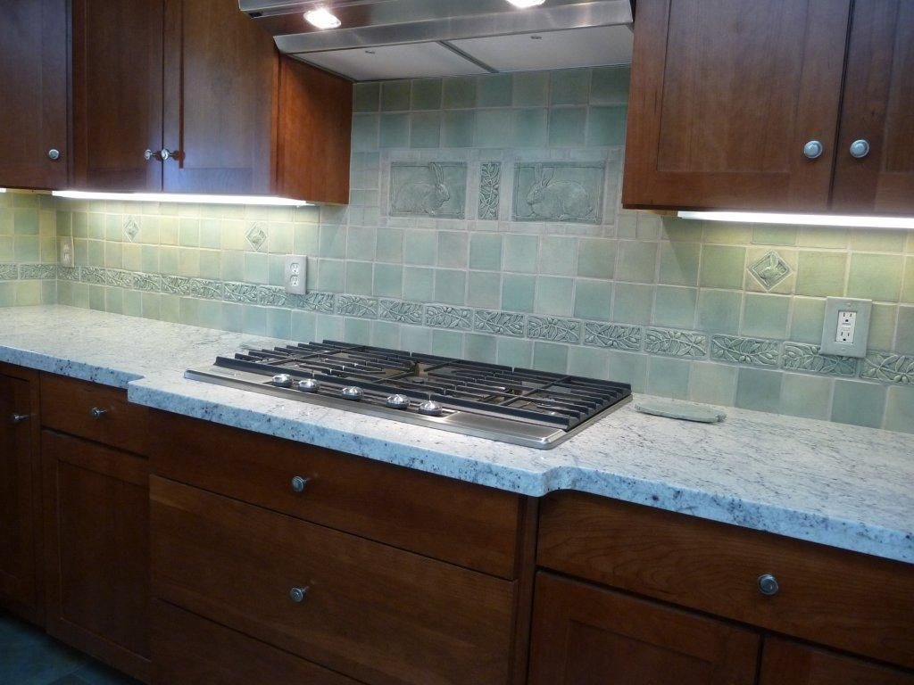 Handcrafted tiles for kitchen backsplash with rabbit accent tiles ...